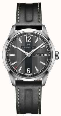 Hamilton Mens Broadway Day Date Black Leather Strap Black Dial H43311735