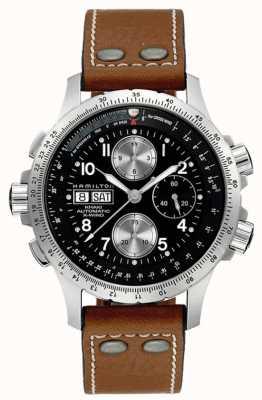 Hamilton Men's Khaki X Wind Brown Leather Strap Black Dial H77616533