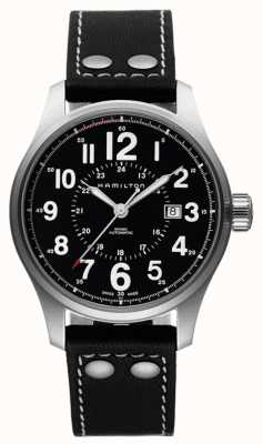 Hamilton Mens Khaki Officer Automatic Black Leather Strap Black Dial H70615733