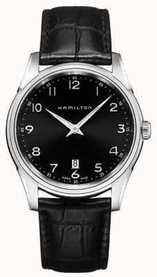 Hamilton Mens Jazzmaster Thinline Black Leather Strap Black Dial H38511733