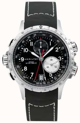 Hamilton Men's Khaki ETO Flyback Chronograph Black Rubber Strap H77612333