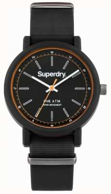 Superdry Mens Campus Nato Black Rubber Strap Black Dial SYG197B