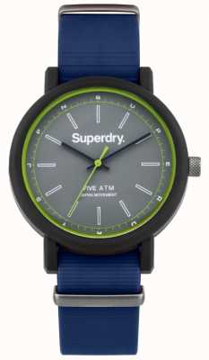 Superdry Mens Campus Nato Navy Rubber Strap Grey Dial SYG197U