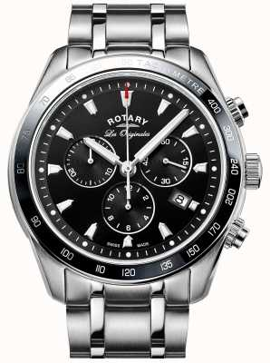 Rotary Mens Legacy Chronograph Stainless Steel Black Dial GB90169/04