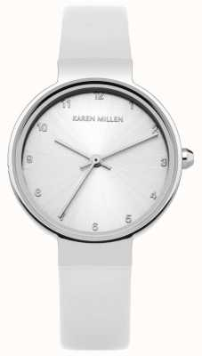 Karen Millen Womens White Leather Strap Silver Dial KM131W