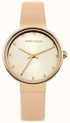 Karen Millen Womens Rose Gold Leather Strap Rose Gold Dial KM131CRG