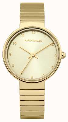 Karen Millen Womens Gold Plated Stainless Steel Bracelet Gold Dial KM131GM
