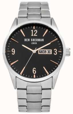 Ben Sherman Mens Stainless Steel Black Dial WB053BSM