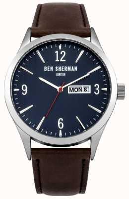 Ben Sherman Mens Brown Leather Strap Blue Dial WB053BR