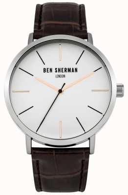 Ben Sherman Mens Brown Leather Strap White Dial WB054BR