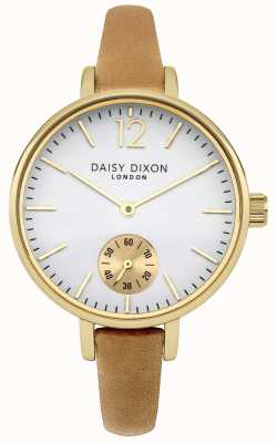 Daisy Dixon Womens Grace Camel Leather Strap White Dial DD026EG