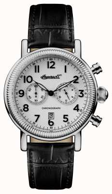 Ingersoll Mens 1892 The Daniels Black Leather Strap White Dial I01002