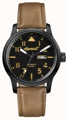 Ingersoll Mens Discovery The Hatton Brown Leather Strap Black Dial I01302