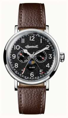 Ingersoll Mens Discovery The St Johns Brown Leather Black Dial I01601