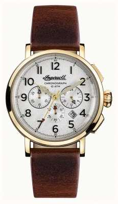 Ingersoll Mens Discovery The St Johns Brown Leather Strap White Dial I01703