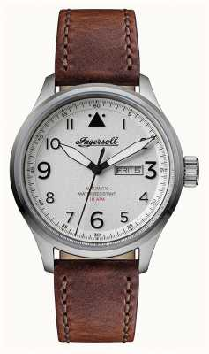 Ingersoll Mens Discovery The Bateman Brown Leather Strap White Dial I01801