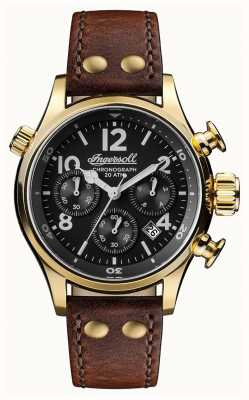 Ingersoll Mens Discovery The Armstrong Brown Leather Strap Black Dial I02003