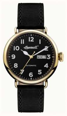 Ingersoll Mens Chronicle The Trenton Black Leather Strap Black Dial I03401