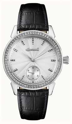 Ingersoll Womens Chronicle The Gem Black Leather Strap Silver Dial I03701