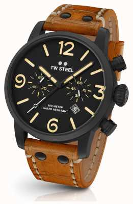 TW Steel Mens Maverick Black Sandwich Chronograph Tan Leather 45mm MS33