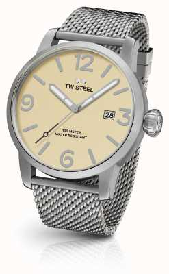 TW Steel Mens Maverick Steel Mesh Strap Cream Dial 48mm MB2