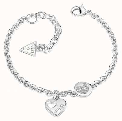Guess Womans Heart Devotion Sparkle Heart Coin Bracelet UBB82057-L