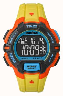 Timex Mens Indiglo Iron Man Rugged Alarm Chronograph Yellow Orange TW5M02300