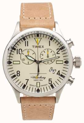Timex Mens The Waterbury Chronograph Beige Leather Strap TW2P84200