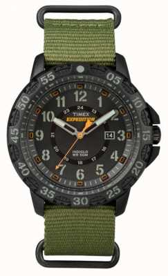 Timex Mens Gallatin Green Fabric Strap Black Dial TW4B03600