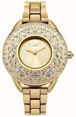 Lipsy Womens Gold Plated Stainless Steel Bracelet Gold Dial LP443