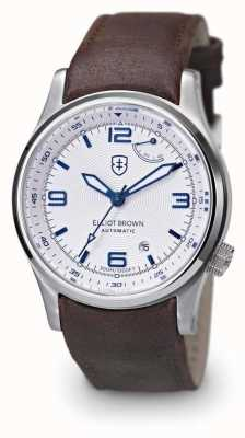 Elliot Brown Mens Tyneham Brown Leather Strap White Dial 305-004-L14