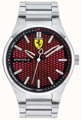 Scuderia Ferrari Mens Speciale Stainless Steel Bracelet Red Dial 0830357