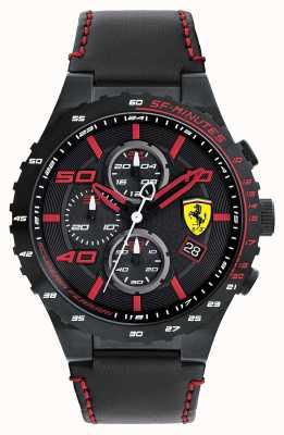 Scuderia Ferrari Mens Speciale Evo Black Leather Strap Black Dial 0830363