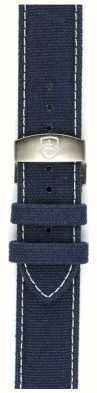 Elliot Brown Mens 22mm Washed Blue Canvas Deployant  Strap Only STR-C01