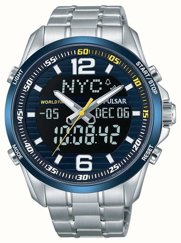 Pulsar Mens Accelerator Wrc Dual Time World Time Alarm Chronograph