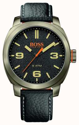 Hugo Boss Orange Mens Cape Town Black Leather Strap Gold Tone Case Black Dial 1513409