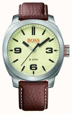 Hugo Boss Orange Mens Cape Town Brown Leather Strap Cream Dial 1513411