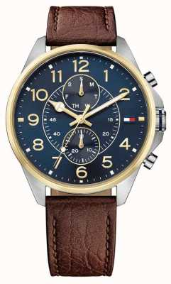Tommy Hilfiger Mens Dean Brown Leather Strap Blue Dial 1791275