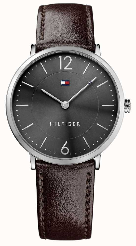 02eff67c3 Tommy Hilfiger Mens James Brown Leather Strap Black Dial 1710352 ...