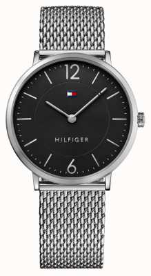 4f7334ca6d2 Tommy Hilfiger Mens James Stainless Steel Mesh Bracelet Black Dial 1710355