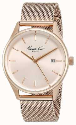 Kenneth Cole Womens Silver Gold Tone Stainless Steel Mesh Rose Gold Dial KC10029400