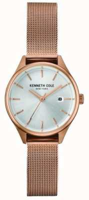 Kenneth Cole Womens Rose Gold Tone Stainless Steel Mesh Silver Dial KC10030842