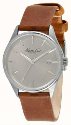 Kenneth Cole Womens Brown Leather Strap Silver Dial KC10026626