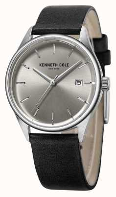 Kenneth Cole Womens Black Leather Strap Silver Dial KC10025930