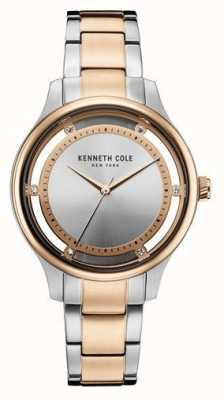 Kenneth Cole Womens Two Tone Stainless Steel Bracelet Silver Dial KC10030798
