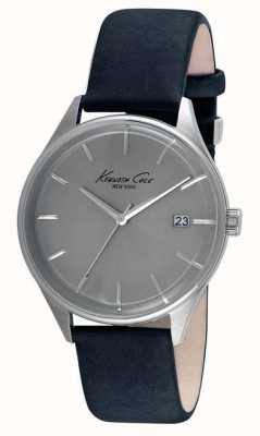 Kenneth Cole Mens Black Leather Strap Grey Dial KC10029304