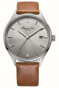 Kenneth Cole Mens Tan Leather Strap Grey Dial KC10029307