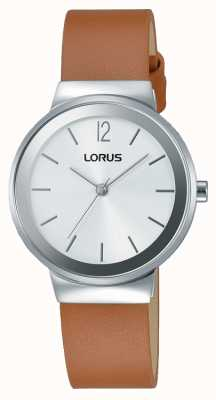 Lorus Womens Brown Leather Strap Silver Dial RG249LX9