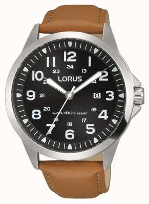 Lorus Mens Brown Leather Strap Black Dial Stainless Steel Case RH933GX9