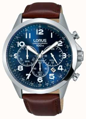 Lorus Mens Brown Leather Strap Blue Dial RT379FX9
